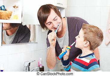 spazzolatura, figlio, padre, denti
