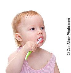 spazzolatura, piccola ragazza, lei, denti