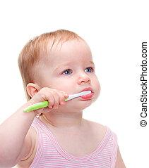 spazzolatura, poco, carino, lei, denti, ragazza