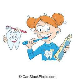 spazzolatura, poco, lei, illustrazione, vettore, denti, ragazza