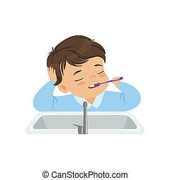 spazzolatura, ragazzo, bagno, suo, illustrazione, dente, vettore, fondo, denti, spazzola, bianco, preoccupare, capretto