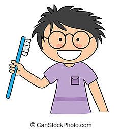 spazzolatura, ragazzo, lei, denti