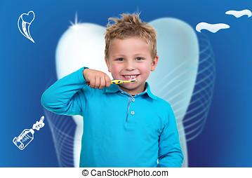Spazzolatura, Ragazzo, poco, dentale, fondo, denti