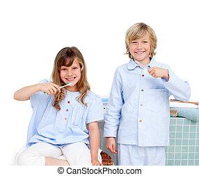 spazzolatura, siter, fratello, loro, denti, sorridente