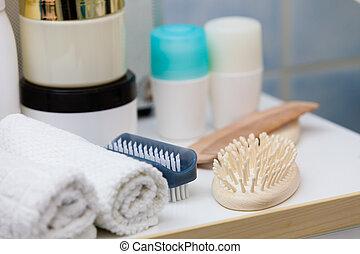 spazzole, bagno, asciugamani, spugne, objects., creme