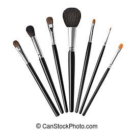 spazzole, bianco, set, isolato, trucco