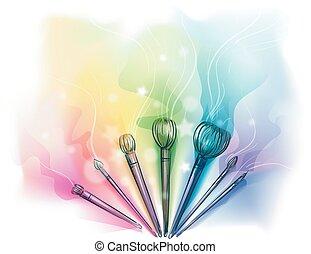spazzole, colorito, trucco