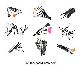 spazzole, completo, trucco, isolato, set, fondo, bianco