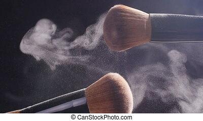 spazzole, polvere, trucco