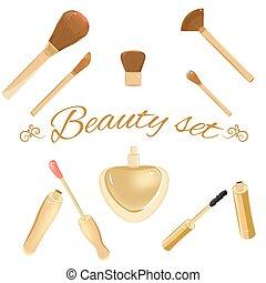 spazzole, set, cosmetico, profumo, mascara, bottiglia, lipgloss