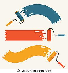 spazzole, set, paint., rullo, striscie