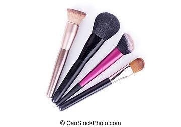 spazzole, trucco, isolato, set, closeup, fondo, bianco