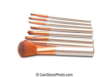 spazzole, trucco, isolato, set, fondo, bianco