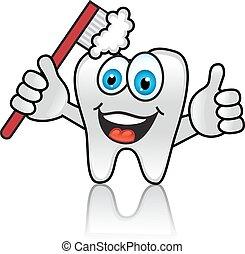 spazzolino, cartone animato, dente