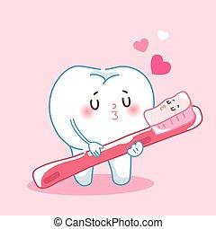 spazzolino, cartone animato, denti