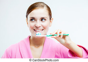 spazzolino, dentale, donna, cura