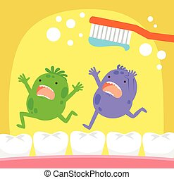spazzolino, dente, germi