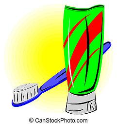 spazzolino, dentifricio, set