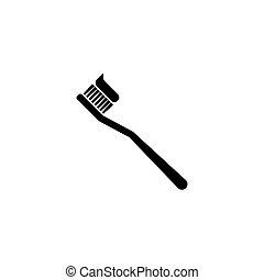 spazzolino, dentifricio, silhouette, icona