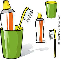 spazzolino, dentifricio, tazza