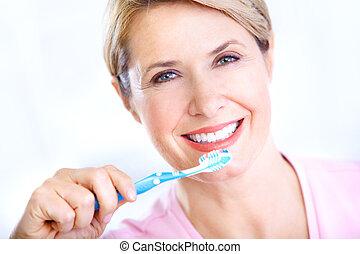 spazzolino, donna