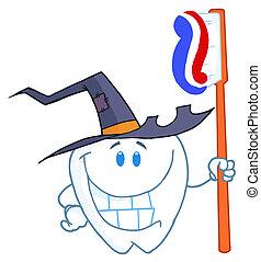 spazzolino, halloween, dente