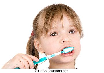 spazzolino, piccola ragazza