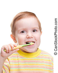 spazzolino, poco, dentale, bambino