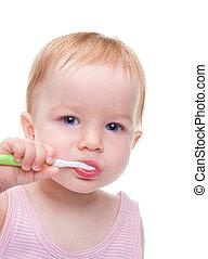 spazzolino, ragazza, isolato