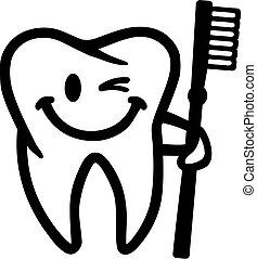 spazzolino, sorridente, lampeggiamento, dente