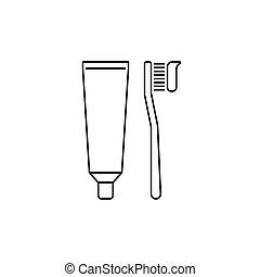 spazzolino, tubo, contorno, dentifricio, icona