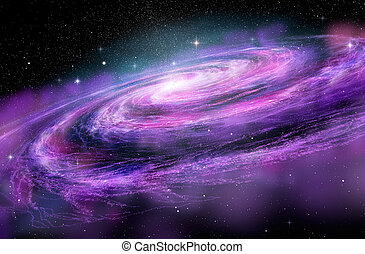 spcae, galassia, illustrazione, spirale, profondo, 3d