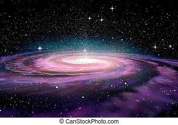 spcae, galaxia, espiral, profundo, 3d