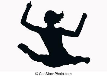 spełnianie, sport, -, samiczy gimnastyk, odłupuje, sylwetka