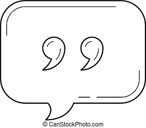 Speach bubble vector line icon isolated on white background. Vector line icon of speach bubble for chat and conversation for infographic, website or app.