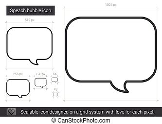 speach, ligne, bulle, icon.