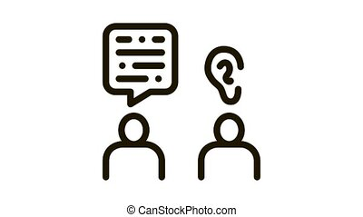 Speak And Listen Icon Animation. black Speak And Listen animated icon on white background