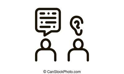 Speak And Listen Icon Animation. black Speak And Listen animated icon on white background