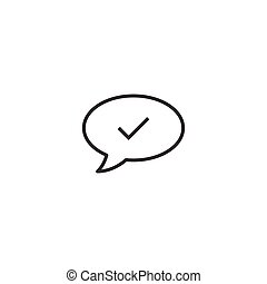 Speak chat sign icon in flat style. Speech bubble with check mark vector illustration on white isolated background. Team discussion button business concept.
