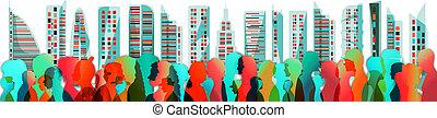 speak., diferente, ages., crowding., multidão., diversidade,...