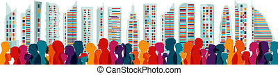 speak., diferente, aglomerar-se, ages., diversidade,...
