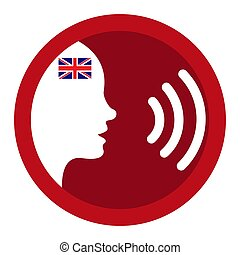 Speak English - voice icon - Flag of the Great Britain - ...