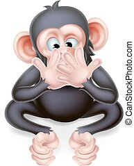 Speak no evil cartoon wise monkey covering his mouth