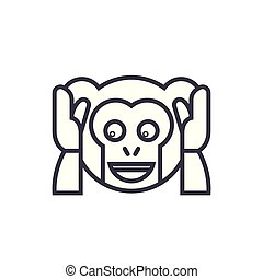Speak No Evil Emoji concept line editable vector, concept...