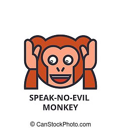 speak no evil emoji vector line icon, sign, illustration on...