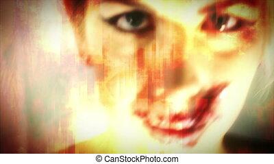 Speak no Evil Red Orange Abstract