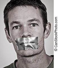 Speak out - Man with tape over his lips