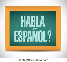 speak spanish sign on a blackboard. illustration design over...