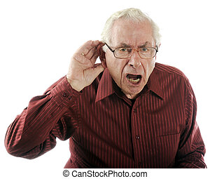 Speak up, I Can't Hear You! - A senior man looking grumpy as...