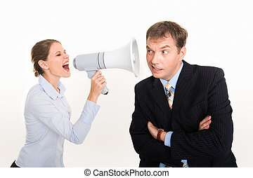 Speak up - Image of businesswoman screaming by megaphone and...